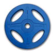 Олимпийский обрезиненный диск Alex, 4 отверстия, 20 кг синий, фото 1