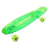 Скейтборд прозрачный PLAYSHION со светящимися колесами FS-LS002G (Зеленый), фото 1